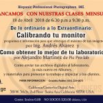 Taller: Calibrando tu Monitor-18 Abril Santa Ana California